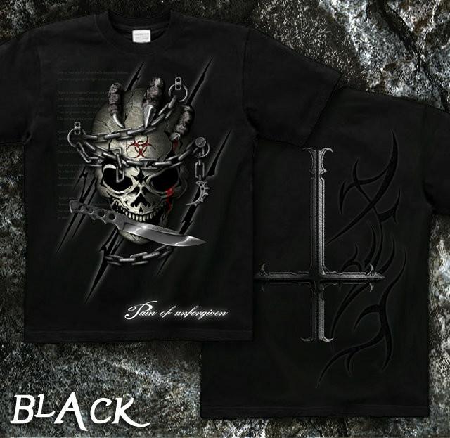 ロック メタル バイカー系のスカル柄Tシャツ 黒