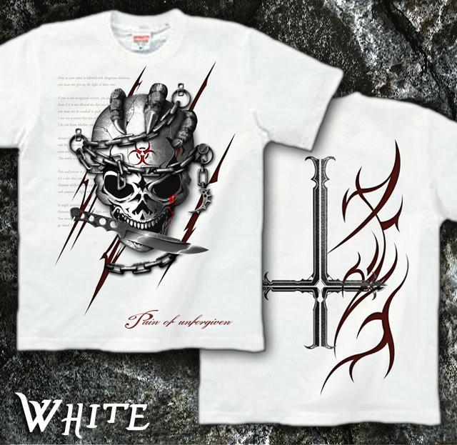 ロック メタル バイカー系のスカル柄Tシャツ 白