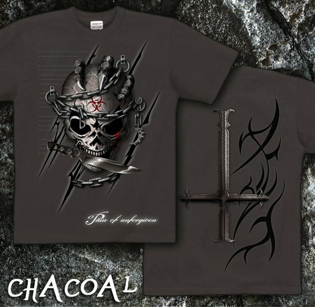 ロック メタル バイカー系のスカル柄Tシャツ チャコール