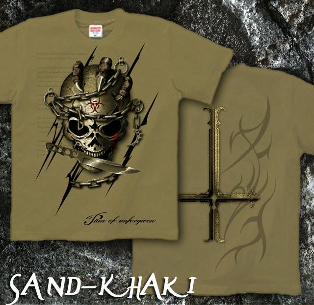 ロック メタル バイカー系のスカル柄Tシャツ サンドカーキ