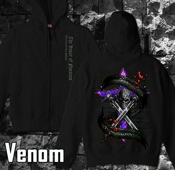 メタル ロック バイカー系のクールな蛇とスカル柄パーカー 黒×紫