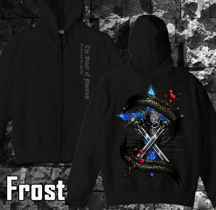 メタル ロック バイカー系のクールな蛇とスカル柄パーカー 黒×青