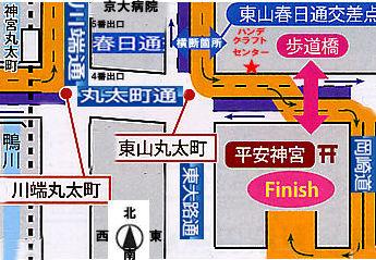 ハンデクラフトセンター前の京都マラソン地図