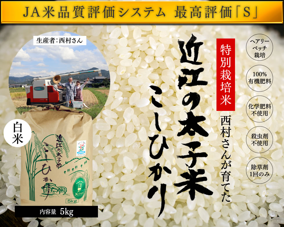 JA米品質評価システム 最高評価「S」 特別栽培米西村さんが育てた 近江の太子米 こしひかり 白米5kg