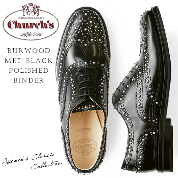 Church's ���㡼�� ��ǥ����� ���å����ե����� ���ʥ�� ������ �졼�����å� �����å� �� Burwood Met Black Polished Binder ��