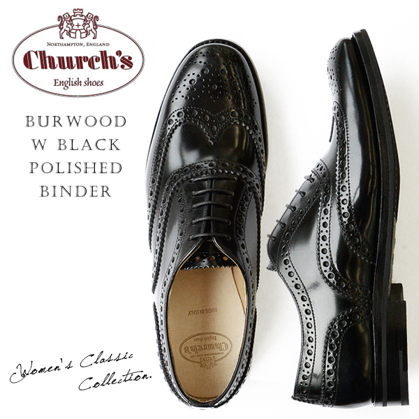 Church's ���㡼�� ��ǥ����� ���å����ե����� ���ʥ�� ������ �졼�����å� �� Burwood W Black Polished Binder ��