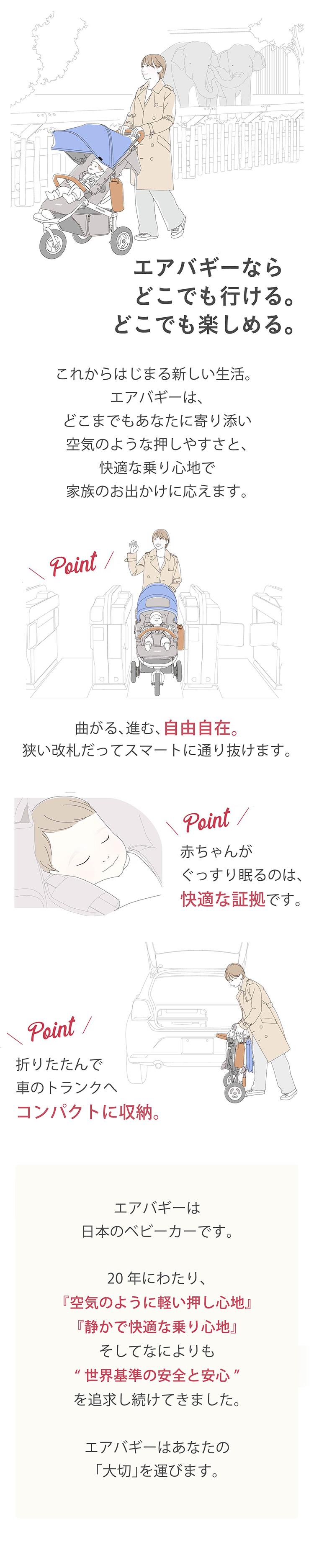 新生児から使えるベビーカーエアバギー「フロムバース ブレーキ」の商品ページ1