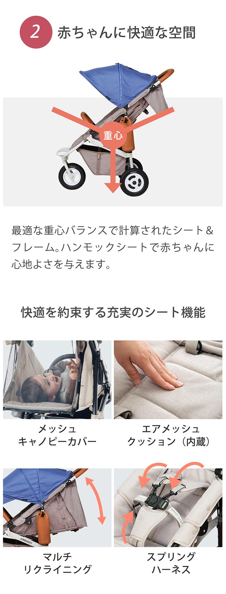 新生児から使えるベビーカーエアバギー「ココプレミアフロムバース」の商品ページ3