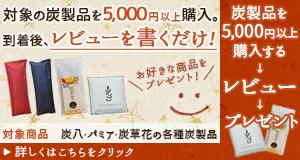 炭製品5000円以上→レビュー→プレゼント