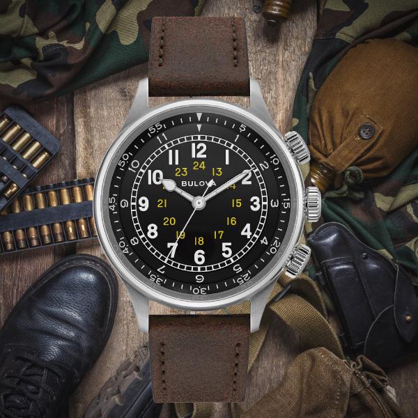 【無金利ローン可】 ブローバ [BULOVA] ミリタリー [Miitary] メンズ 腕時計 自動巻 機械式 革ベルト ブラック ブラウン