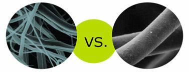 3Mシンサレート高機能中綿素材と一般的なポリエステル綿の顕微鏡写真