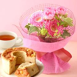 人気NO,1お花畑ブーケとシフォンケーキ