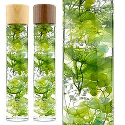 ハーバリウム(浮游花/フユカ)、ミックスタイプのグリーン系花材(木製キャップ)