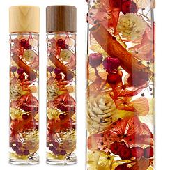 ハーバリウム(浮游花/フユカ)、ミックスタイプのレッド系花材(木製キャップ)