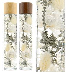 ハーバリウム(浮游花/フユカ)、ミックスタイプのホワイト系花材(木製キャップ)