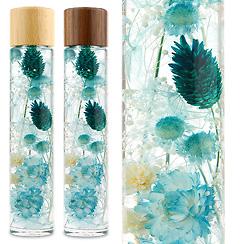 ハーバリウム(浮游花/フユカ)、ミックスタイプのブルー系花材(木製キャップ)