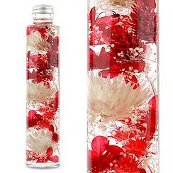 ハーバリウム(浮游花/フユカ)、ミックスタイプのレッド系花材