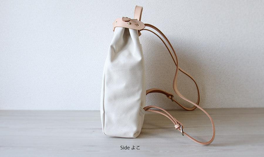 帆布×ヌメ革 バッグ レディース メンズ リュック A4入る