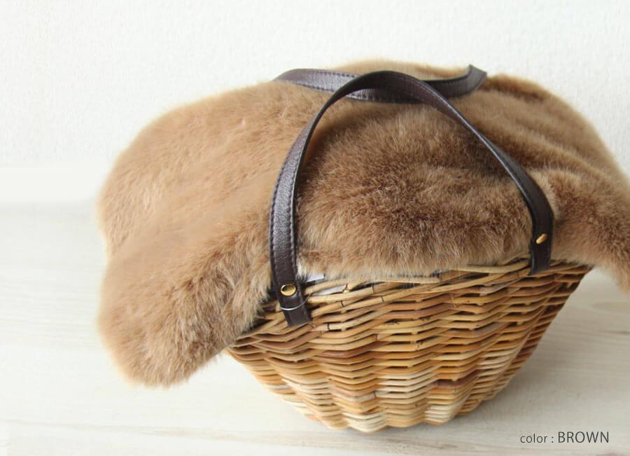 ラタンバッグ かごバッグ リアルラビットファー トートバッグ リボン レディース 人気 by HAYNI