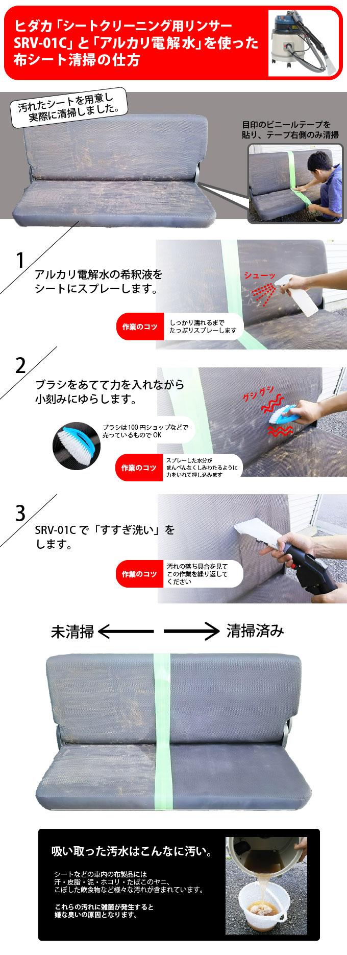 リンサーsrv-01cとアルカリ電解水を使った布シート清掃の仕方