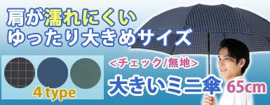 大きいミニ傘 65cm チェック
