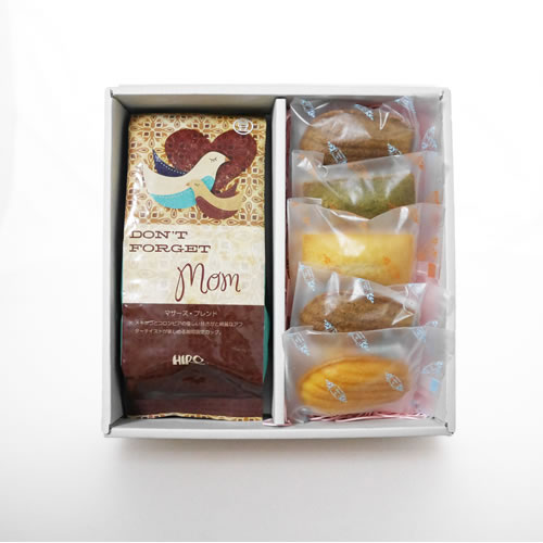 ヒロコーヒーの母の日コーヒーギフト特集マドレーヌ・フィナンシェ焼き菓子5種とオーガニックマザーズ・ブレンドセット