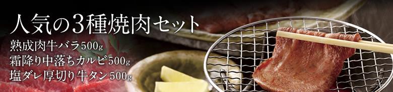 チルド熟成牛・霜降り中落焼肉セット1500g/カルビ,バラ,塩ダレ厚切り牛タン味付け【送料無料】