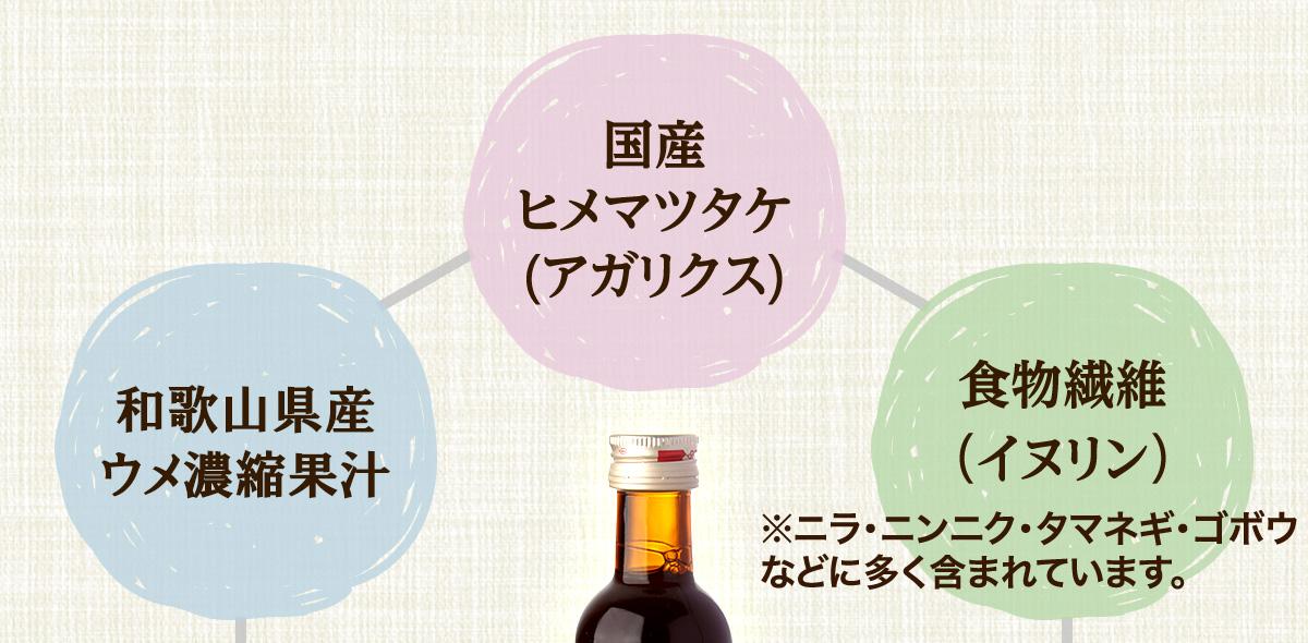 国産ヒメマツタケ(アガリクス) 和歌山県産ウメ濃縮果汁 食物繊維(イヌリン)