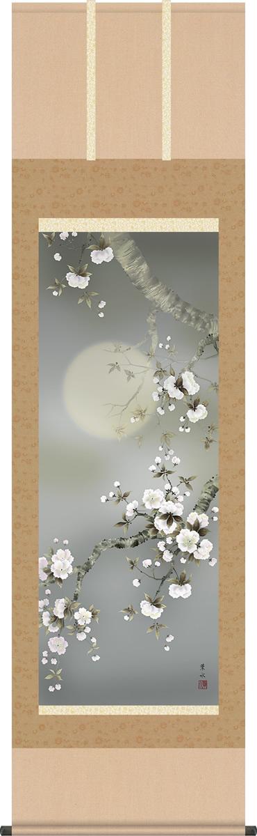 掛け軸-夜桜/緒方葉水(尺五・桐箱・風鎮付き・緞子)