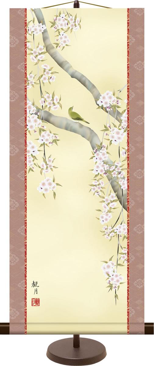 和風モダンミニ掛け軸 花鳥画 桜花に鶯 森山観月 飾りスタンド付き 部屋置き[送料無料]