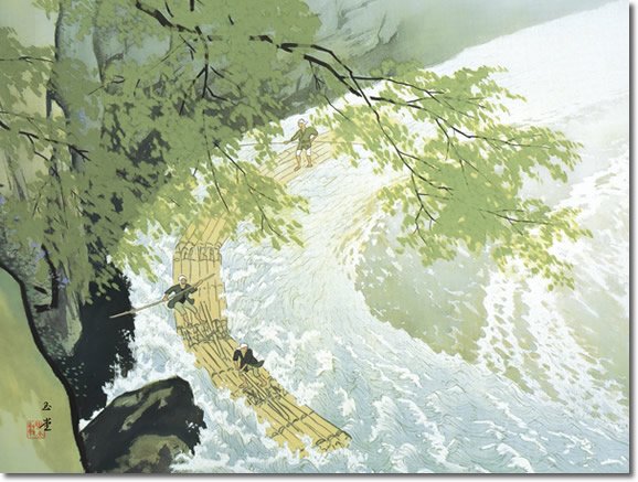 掛け軸 掛軸 筏(いかだ) 川合玉堂 尺五横 床の間 モダン 巨匠 名作名画複製画 [送料無料]
