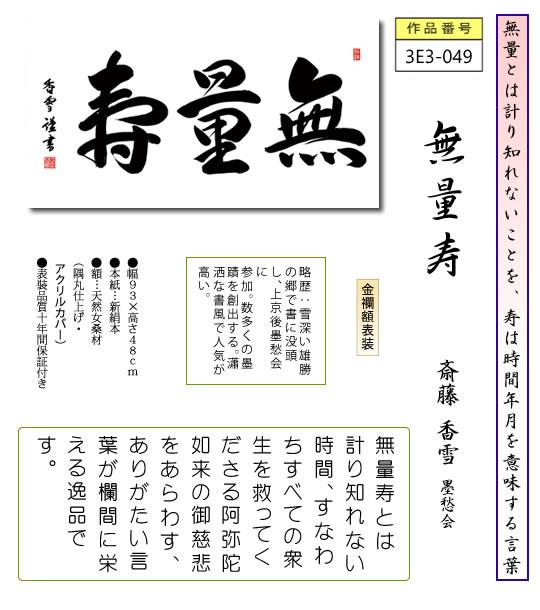隅丸和額 無量寿/斎藤香雪 (幅93×高さ48�)欄間 長押 おしゃれ モダン