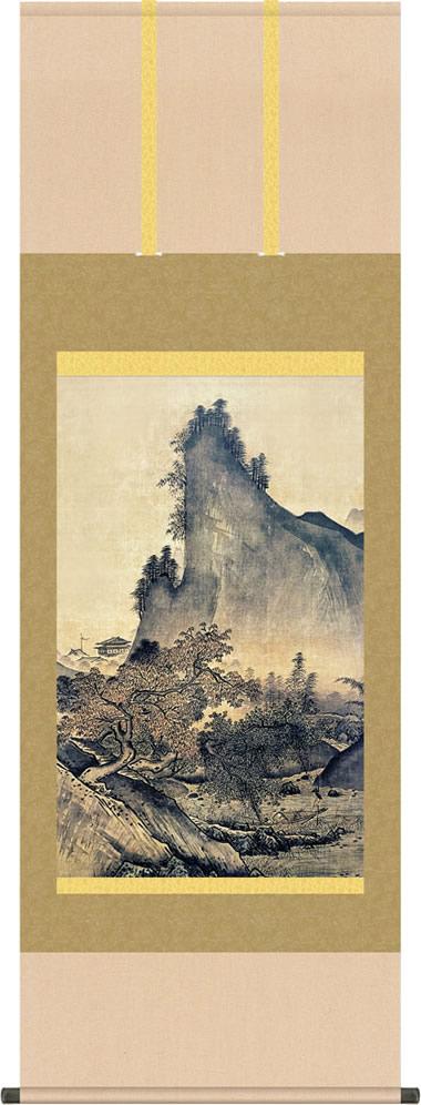 掛け軸-四季山水図(秋)/雪舟(尺五立) 水墨山水画 床の間 和室 お洒落 モダン