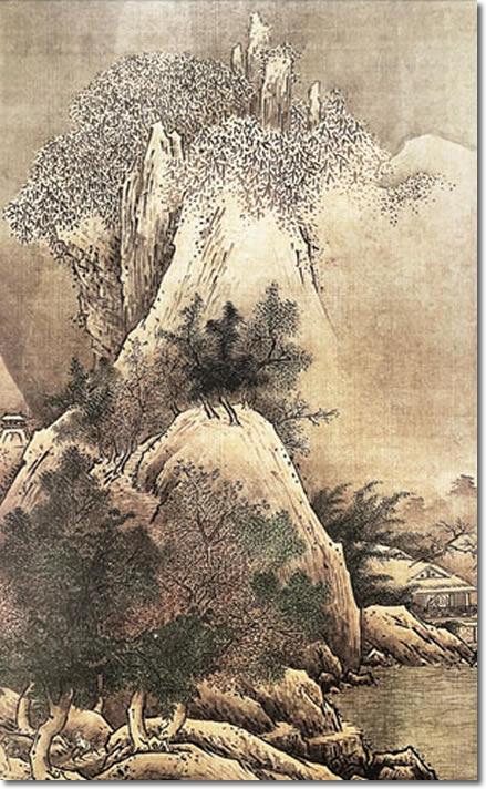 掛け軸-四季山水図(冬)/雪舟(尺五立) 水墨山水画 床の間 和室 お洒落 モダン