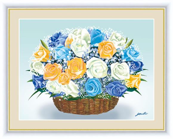 【F6】風水絵額 バラのブーケ 洋美 アート インテリア 安らぎ 潤い 壁掛け [送料無料]