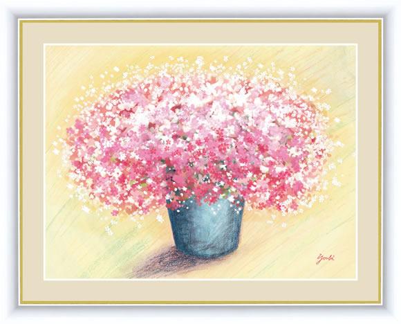 【F6】風水絵額 可愛いピンクのブーケ 洋美 アート インテリア 安らぎ 潤い 壁掛け [送料無料]