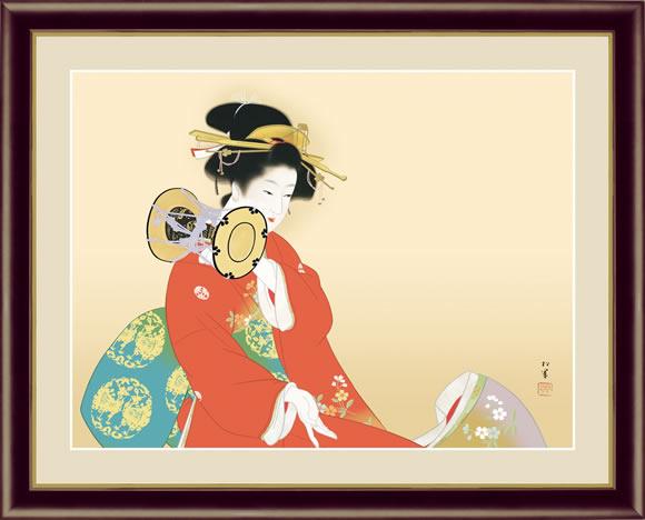 【F6】日本の名画額 鼓の音(つづみのね) 上村松園 モダンアート インテリア 安らぎ 潤い 壁掛け [送料無料]