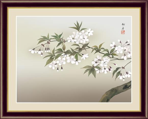 【F6】日本の名画額 夜桜(よざくら) 速水御舟 モダンアート インテリア 安らぎ 潤い 壁掛け [送料無料]