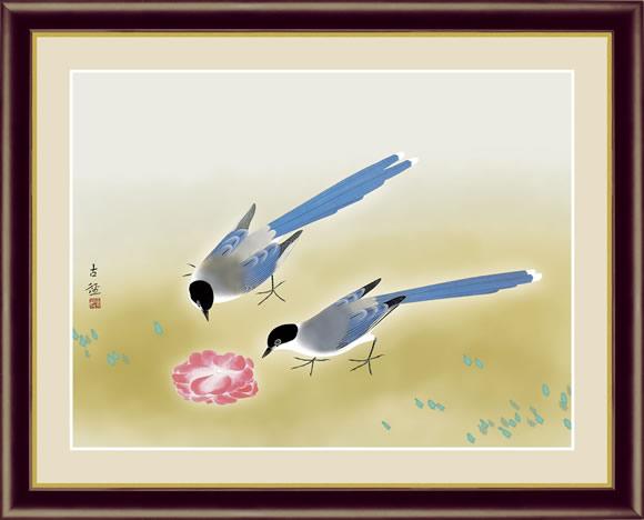 【F6】日本の名画額 尾長鳥(おながどり)/小林 古径 モダンアート インテリア 安らぎ 潤い 壁掛け [送料無料]