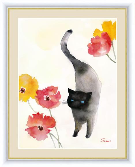 【F6】微笑みの中のこどもたち絵額 カーネーションと黒猫 榎本早織 アート インテリア 安らぎ 潤い 壁掛け [送料無料]