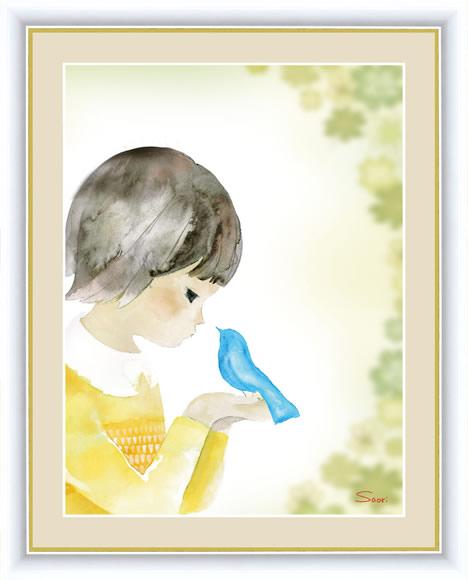 【F6】微笑みの中のこどもたち絵額 青い鳥とクローバー 榎本早織 アート インテリア 安らぎ 潤い 壁掛け [送料無料]