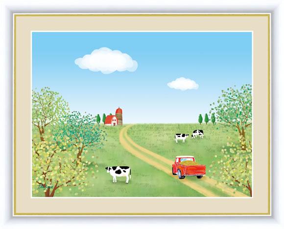 【F6】のどかな心の風景絵額 牧場 喜多一 アート インテリア 安らぎ 潤い 壁掛け [送料無料]