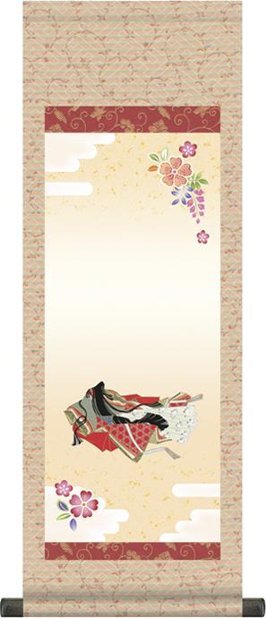 【大】桃の節句名入れ掛軸-小町雛[名入れ旗 名前旗 命名旗 雛祭り 三月 女の子 お雛様 節句 飾り お祝い]