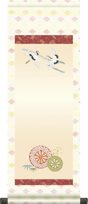 【大】桃の節句名入れ掛軸-御所車[名入れ旗 名前旗 命名旗 雛祭り 三月 女の子 お雛様 節句 飾り お祝い]