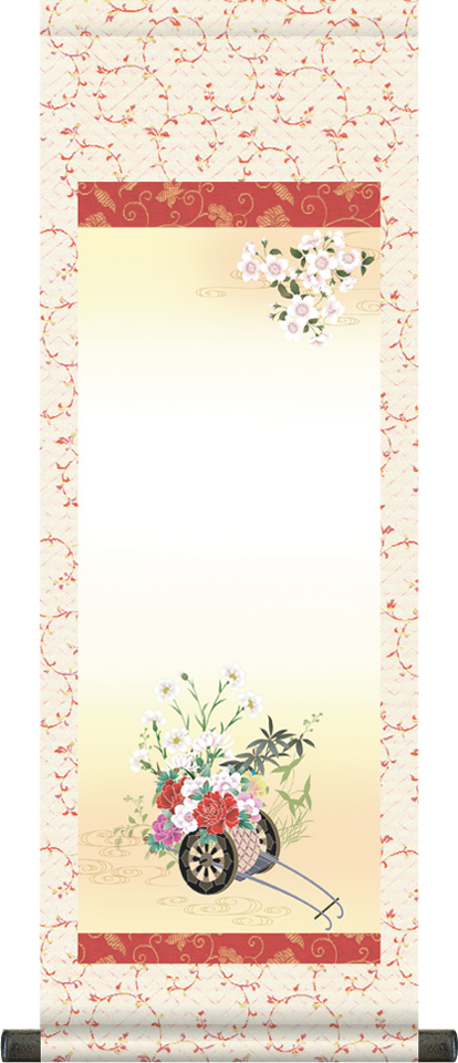 【大】桃の節句名入れ掛軸-花車[名入れ旗 名前旗 命名旗 雛祭り 三月 女の子 お雛様 節句 飾り お祝い]