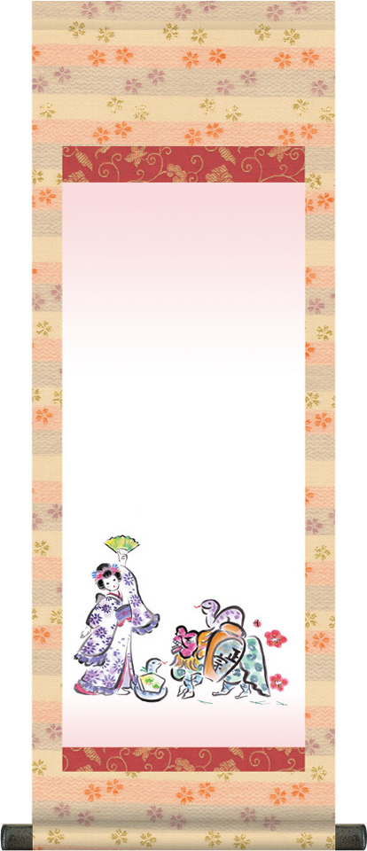 【大】桃の節句名入れ掛軸-幸運へび[名入れ旗 名前旗 命名旗 雛祭り 三月 女の子 お雛様 節句 飾り お祝い]