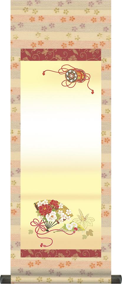 【大】桃の節句名入れ掛軸-花扇[名入れ旗 名前旗 命名旗 雛祭り 三月 女の子 お雛様 節句 飾り お祝い]