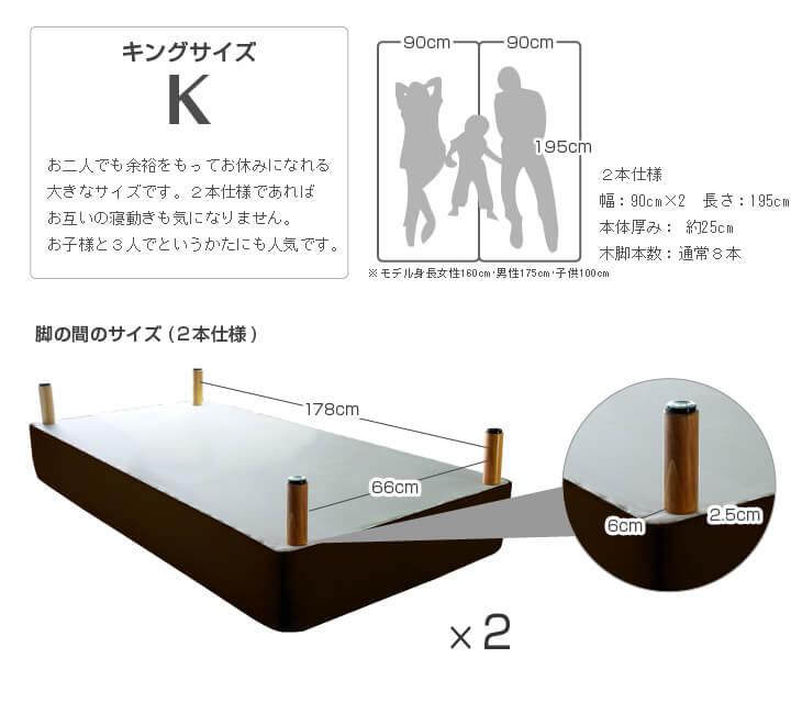 キングサイズ:幅180cm