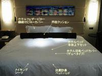 客室にマットレスやシーツ・ベッド・カバー・まくら・ベッドスローなどをセットしてインテリアをプロデュースしましょう