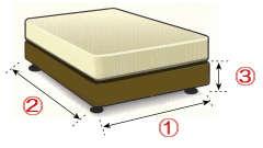 ベッドスカートをお作りする為のベッドのボトム・フレームのサイズ